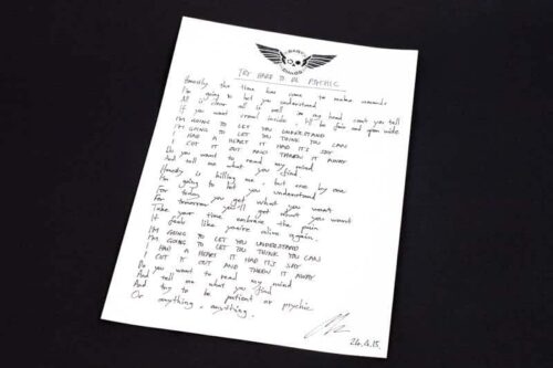 Baby Chaso - Handwritten Lyric Sheet