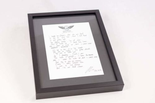 Baby Chaos - Handwritten Lyric Sheet (Framed Example)